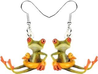 BONSNY Acrylic Novelty Sweet Skateboard Frog Earrings Drop Dangle Jewelry For Women Kids Charms Gifts