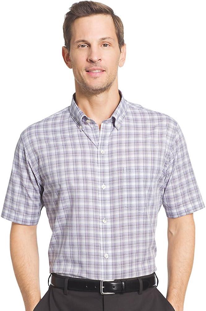 Van Heusen Men's Flex Stretch Classic Fit Plaid No Iron Button Down Shirt (X-Large, Purple Astor)