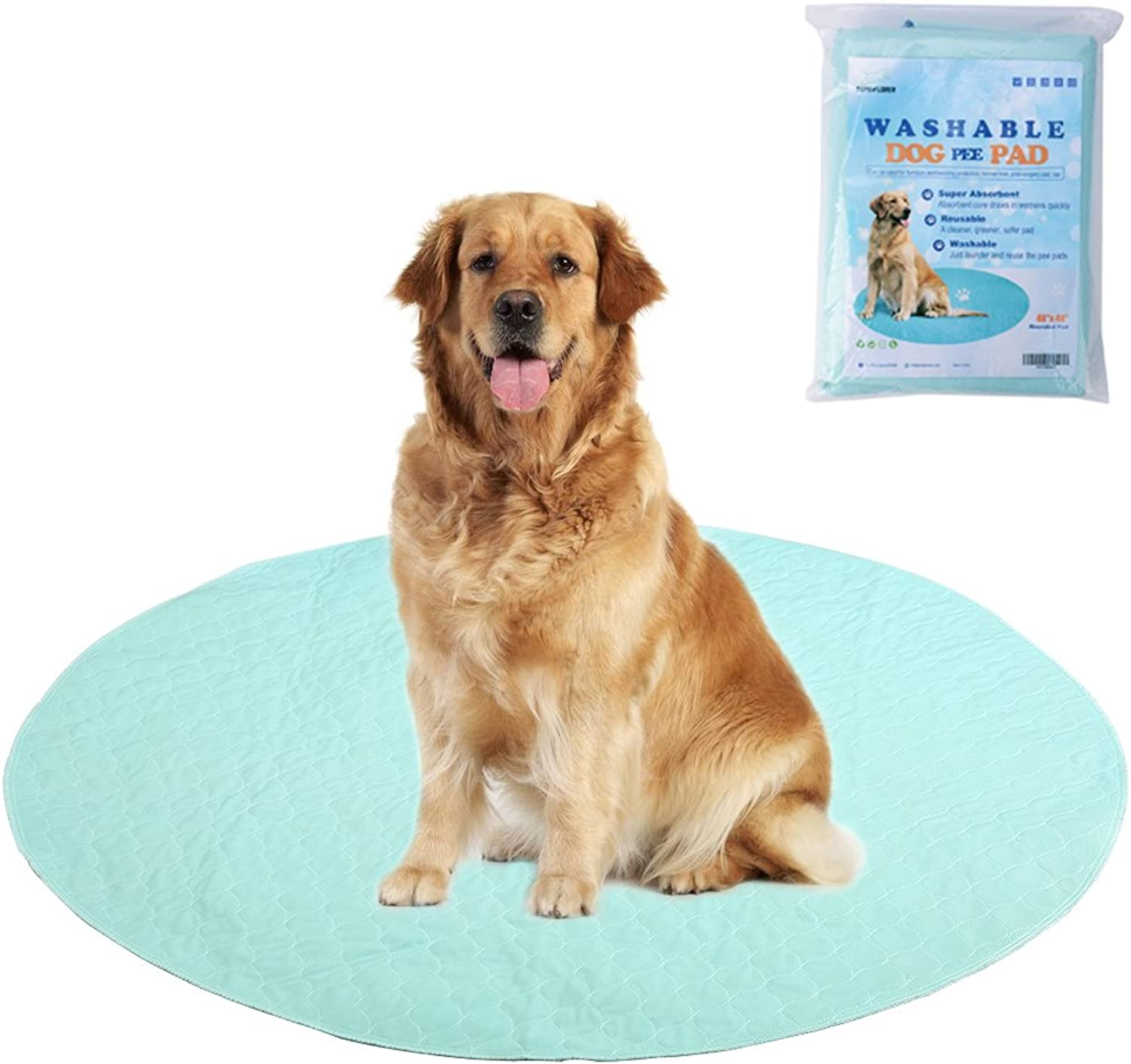EXPAWLORER Washable Pee Pads for Dogs  Reusable Round Pad for Puppy Playpen Pen, Puppy Housebreaking Training, Travelling and Whelping, 48 x48