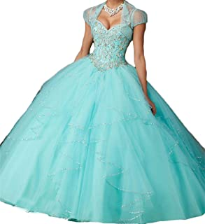 Dydsz Women's Quinceanera Prom Dresses Beaded Sweet 16 Ball Gown 2 Piece 2019 with Sleeves D203