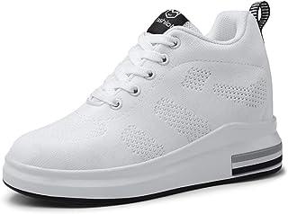 Zapatillas de Deporte de cuña para Mujer Running Walking Fashion Color sólido Malla Transpirable con Cordones Plano Tacón ...
