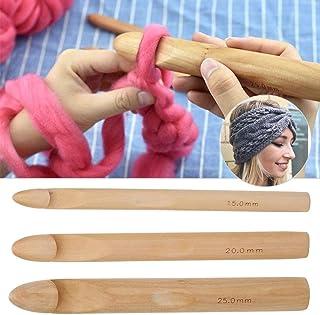 HEEPDD 3pcs Crochets en Bois, Grand Crochet en Bois épais, Outil de Tissage d'aiguille à Tricoter en Bois Crochet de Fil g...