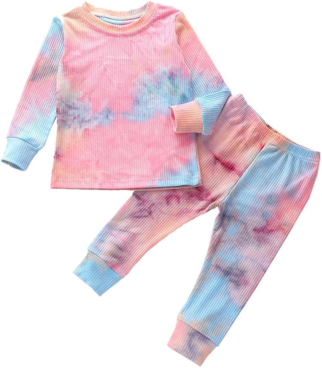 Kids Two Piece Tie Dye Pajama Sets Boys Girls Long Sleeve Pullover Sweatshirt Long Pants Cotton Sleepwear Pjs Set (3-4 T, Tie Dye Pink & Blue)