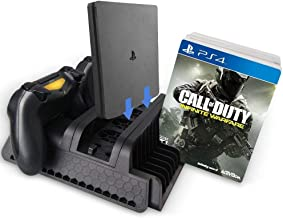 PS4 Slim Pro Multifunctional Vertical Cooling Stand Cooler, PS4 Gamepad Charger with LED Indicator and Disc Storage