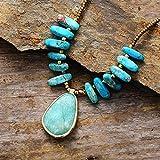 ABCBCA Piedras Naturales Collar Colgante Jaspers Charm Collar de Cuentas Regalos de joyería Cristal