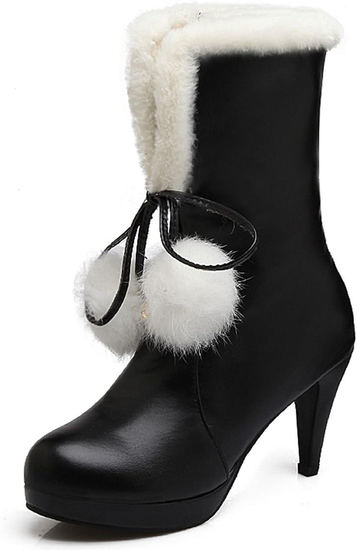 DoraTasia Women's Faux Fur Pom-poms Lace up Mid Calf Boots