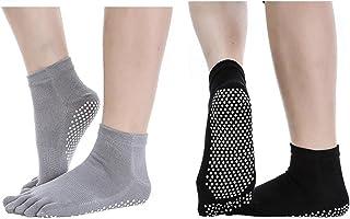 SANIQUEEN.G, 2 Pares Calcetines Antideslizantes para Yoga Pilates Ejercicios Deportivo