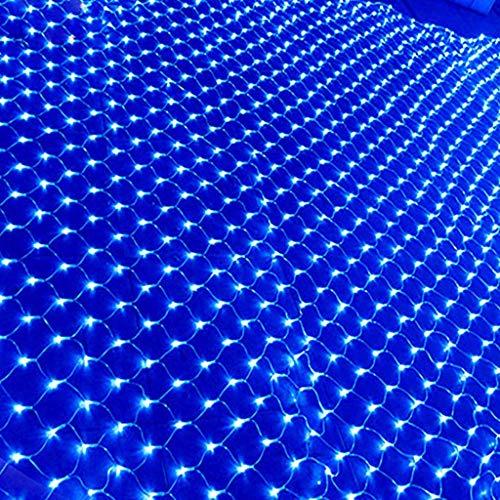 QVIVI LED Blaues Lichternetz, wasserdichte Lichtervorhang Lichterketten, Für Die Weihnachtsfeier Im Freien, Mit Anschließbarem Heckstecker 3m*2m