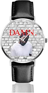 JohnMichelle Unisex Women Mens Kendrick Lamar Damn Leather Watch Stainless Steel Quartz Watch Business Dress Wrist Watch 40mm Case Gift