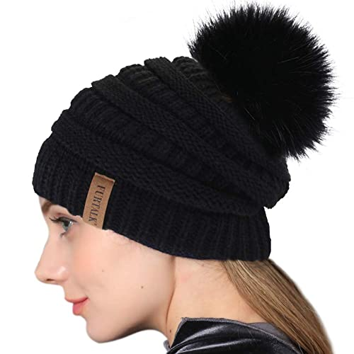 f77d70df86d Winter Real Fur Pom Beanie Hat Warm Oversized Chunky Cable Knit Slouch Beanie  Hats for Women