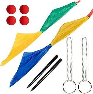 Apipi 10 Pcs Magic Props Set- 4 Red Magic Sponge Balls, 2 Color Changing Silk Hanky Magic Scarves, 2 Magic Metal Ring Chains and 2 Thru Dollar Bill Magic Pens for Magic Penetrating Trick Streets Toys
