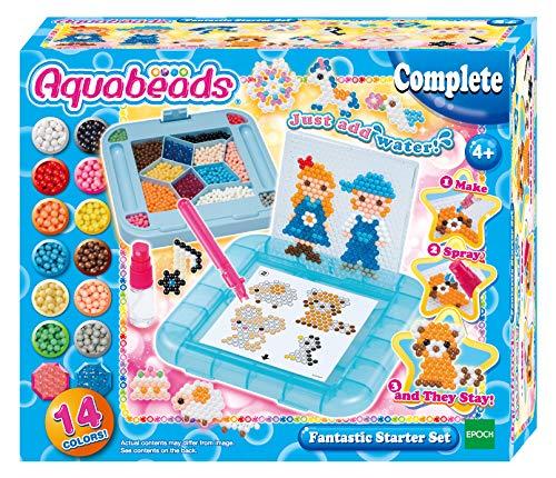 Aquabeads 31588 Fantastisches Starter-Set mit über 800 Schmucksteinen und massiven Perlen – Stiftablage