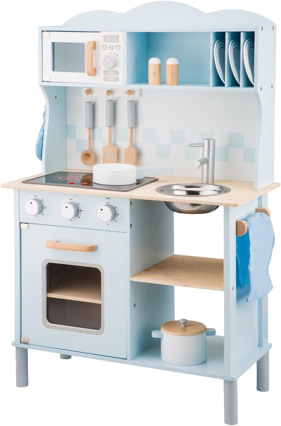 New Classic Toys 11065 Küchenzeile-Modern mit Kochfeld, Multi Color Blau