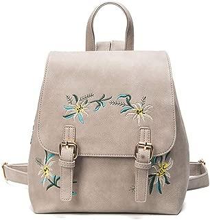 Daypacks Women Vintage Flower Embroidered PU Leather Backpack Travel Handbag Shoulder Bag Large Backpack (Color : Gray)