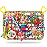 KATUMO Bird Toys, Bird Foraging Wall Toy, Edible Seagrass Woven Climbing Hammock Mat with Colorful Chewing Toys, Suitable for Lovebirds, Finch, Parakeets, Budgerigars, Conure, Cockatiel