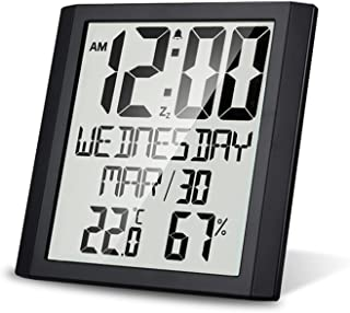 Digital Wall Clock with Temperature & Humidity 8.6'' Large Display Time/Date/Week Alarm Clock & Snooze ℃/ ℉ Selectable Ind...