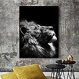 FXBSZ Animal salvaje león cartel arte impresión imagen de la pared nórdico lienzo en blanco y negro sala minimalista artista decoración del hogar sin marco sin marco 60x80cm