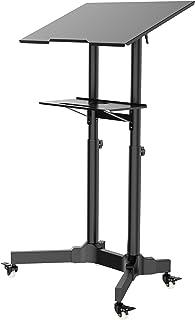 BONTEC Stehpult Höhenverstellbar Laptoptisch mit Rollen Laptop Ständer Mobile Workstation Kompakter Stand-up-Computer Präsentationswagen Ergonomisch mit 4 Beweglichen & Obere Plattform Neigbare