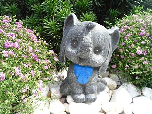 Steinfiguren Spicker Steinfigur Elefant, 134/1.2 Gartenfigur Steinguss Tierfigur Basaltgrau/Blau