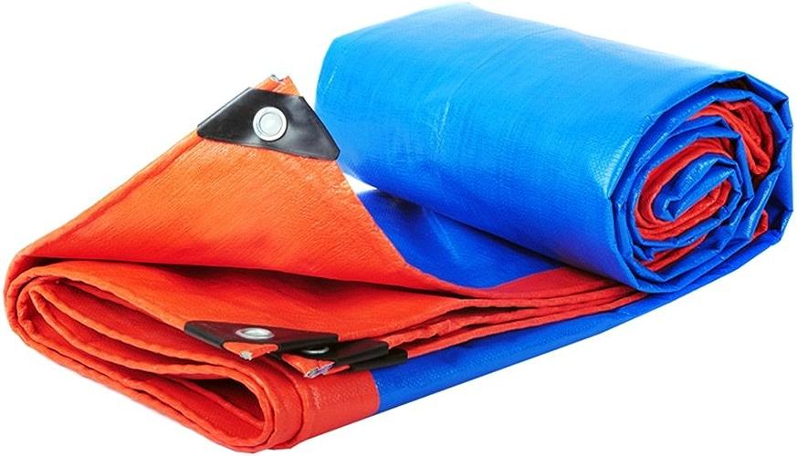 CAOYU Bache épaisse, Bache de Prougeection Solaire Imperméable à l'eau, Bache extérieure de Parasol de Bache de Camion Antipoussière et Anti-oxydation, Bleu + Orange