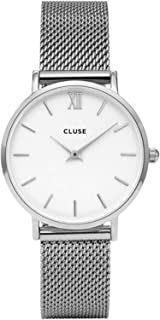 CLUSE Minuit Mesh Silver White CL30009 Women's Watch 33mm Stainless Steel Strap Minimalistic Design Casual Dress Japanese Quartz Elegant Timepiece