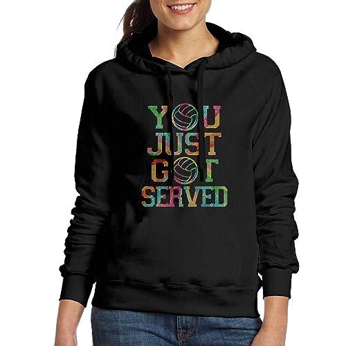 6a42ec239ac2 Womens You Just Got Served Volleyball Casual Pullover No Zipper Print Hoodie  Sweatshirt