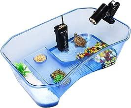 ZeHui Reptile Turtle Tortoise Vivarium Box Aquarium Tank with Basking Ramp Blue