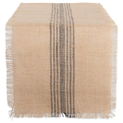 "DII 14x108"" Jute/Burlap Table Runner, Stripe Mineral Grey - Perfect for Fall, Thanksgiving, Catering Events, Farmhouse Décor, Dinner Parties, Weddings or Everyday Use"