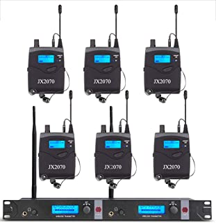 $499 Get Wireless in Ear Monitor System Recording Headphone Studio Monitor Stage Pro Audio JX2070 UHF with 6 Receivers 2 Channel 80 Set Frequency Monitoring 572-603 MHz