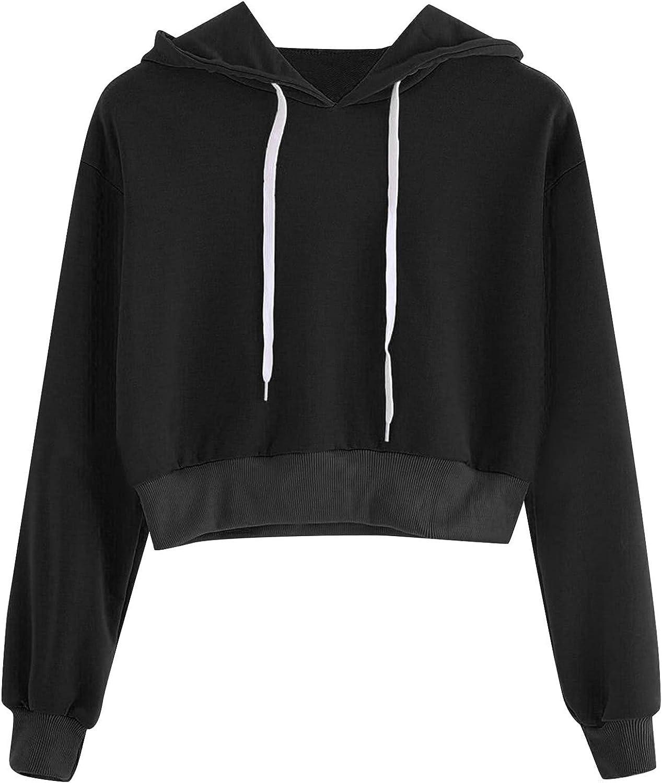 Crop Tops Hoodies for Teen Girls, Women's Casual Long Sleeve Short Sweatshirt Printing Hooded Pullover with Drawstring