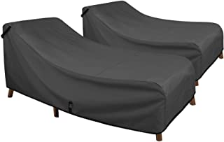 Porch Shield Patio Chaise Lounge Chair Cover - Waterproof Outdoor Pool Chair Cover 2 Pack - 84W x 32D x 34H inch, Black