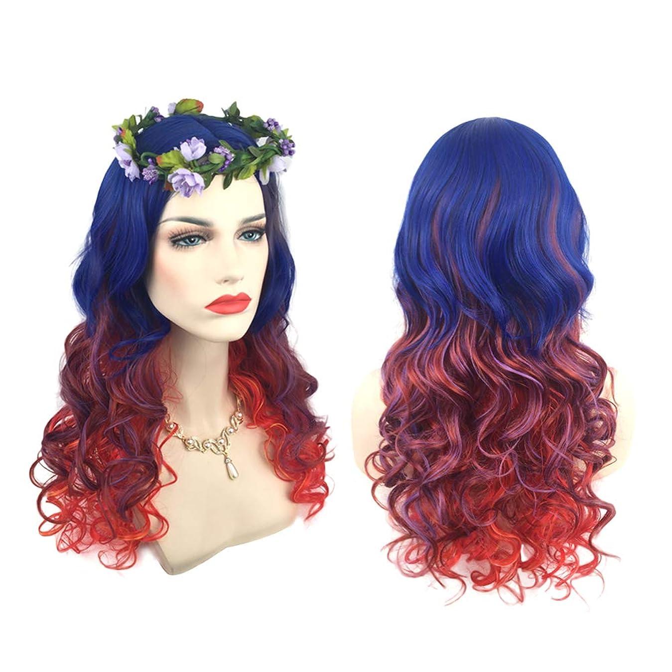 文庫本櫛かまど女性のファッションロング巻き毛のかつらグラデーションカラー縮れ毛のかつらアニメコスプレかつら自然に見える絶妙なローズネットかつらカバー(66175)