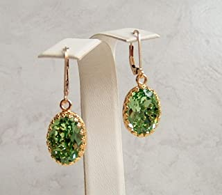 Light Green 14mm Oval Simulated Peridot Crystal Gold Filled Leverback Earrings August Birthday Bridal Gift Idea