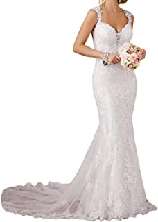 407856f63 RYANTH Womens Long Lace Wedding Dresses for Bride 2019 Mermaid Sweetheart Bridal  Gown R24