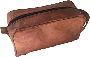 Handmade Goat Genuine Leather Toiletry Bag Dopp Kit Shaving and Grooming Kit for Travel ~ Gift for Men Women ~ Hanging Zippered Makeup Bathroom Cosmetic Pouch Case by VINTAGE CRAFTS
