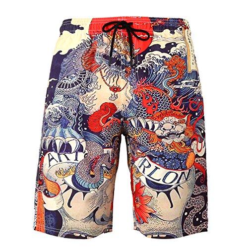 Dreamskull Herren Männer Strandhose Badeshorts Badehose Beachshorts Hawaii Hose Shorts Strand Surfen 3D Kurz Leicht Freizeit Urlaub Casual Bunt Blumen Große Größen S-3XL (XL, Drache)
