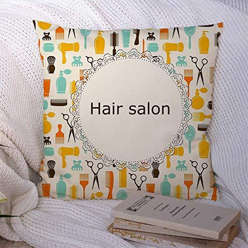 N\A Dekorative Kissenbezüge für Schlafsofa Couch Haar Bunte Salon Shop Haarbürste Platz Emblem Pinsel Text Shampoo Beauty Symbol Mode Texturen Weiche Kissenbezug