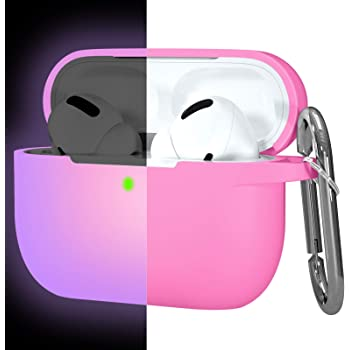 Hamile Compatible with AirPods Pro Case Protective Silicone Airpod Case Shockproof Cover Skin for Apple Airpod Pro 2019 Charging Case, with Keychain, Rose-Night Glow Purple