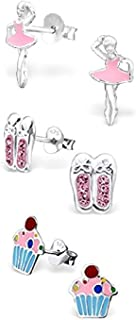 925 Sterling Silver Hypoallergenic Set of 3 Pairs Ballerina, Pink Crystal Ballet Slippers, Cupcake Stud Earrings for Girls and Womens (Nickel Free) 20509