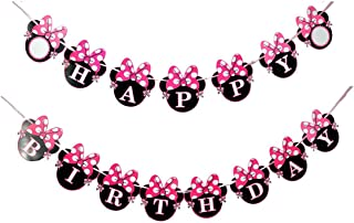 NEWTGAN Minnie Happy Birthday Banner, Mini Mouse Style Party Decorations, Party Supplies, Baby Shower Decor for Girls (sty...