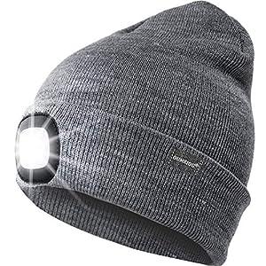 OUMEIOU Nuevo brillante LED brillante encendida Beanie Cap Unisex Recargable Faro sombrero Multi-color 7