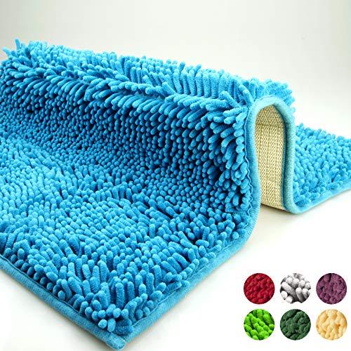 dóff Tappeto da Bagno, Tappetino Antiscivolo, tappeti per Bagno Lavabile in Lavatrice, Blu, Assorbente, Extra Morbido, Microfibra Chenille 50x80cm