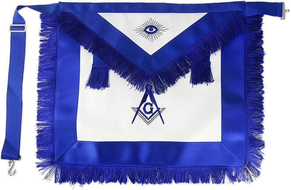 Master Mason Masonic Apron service Blue Free shipping f Lodge Leather Compass Square