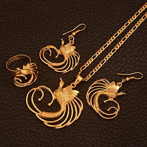 NCDFH Papua Guinea Bird of Paradis, Color Dorado, Collar en Forma de t, Pendientes, Anillo para Mujer, Juegos de Joyas étnicas, Regalos # J0131, redimensionable de 60 cm por 3 mm