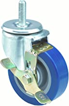 E.R. Wagner Americaster Stem Caster, Swivel with Strap Brake, Dust Cover, Polyurethane on Polyolefin Wheel, Delrin Bearing, 275 lbs Capacity, 4