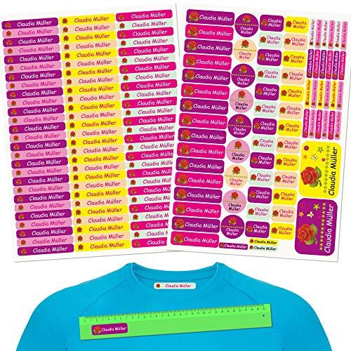 INDIGOS UG® Namensaufkleber Kinder - Set - 160 Stück - rote Rose - Kleidung und Gegenstände - 80 Aufbügler für Kleidung + 80 Aufkleber - Schule Kita Stifte Tassen Lineale individuell