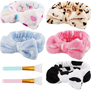 Taomoder 5 Pcs Spa Headbands for Women Washing Face Makeup Headbands Elastic Hair Bands Head Wraps for Shower with Two Bea...