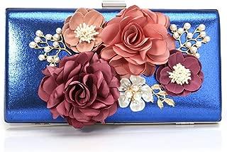 Ladies Flower Dress Dinner Bag, Fashionable Simple Lady Crossbody Bag, Luxurious Ladies Wrist Bag, Multifunctional Joker Bag (22 * 5 * 11.5Cm),Blue