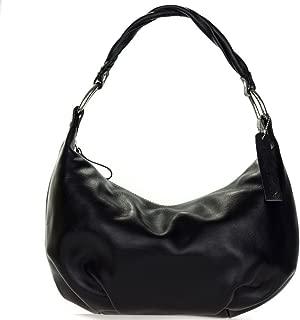 Robe di Firenze Italian Made Black Organically Treated Leather Hobo Bag