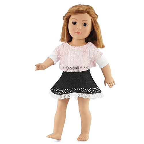 2e13a8205044 18 Inch Doll Clothes Denim Skirt and Pink Lace Shirt Outfit